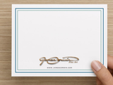 exterior of notecard with company logo and website url