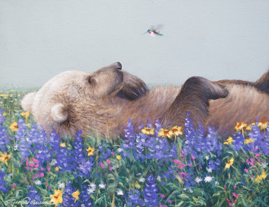 a grizzly bear meets a calliope hummingbird while rolling in wildflowers oil painting by james corwin wildlife artist