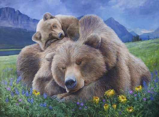 grizzly bear cub rests on his sleeping mother in wildflowers glacier national park wildlife painting by james corwin fine art