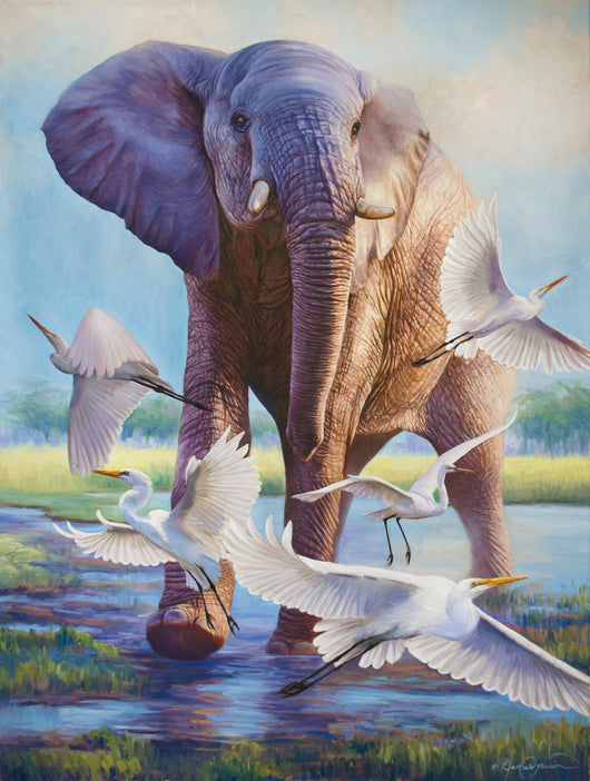 african elephant egrets wildlife art by james corwin