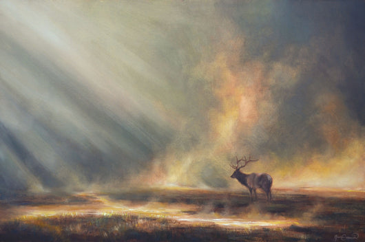 elk in geyser mist in yellowstone national park wildlife art by james corwin painting