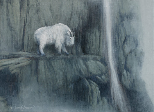 a mountain goat contemplates its next move on a cliff oil painting by james corwin wildlife artist