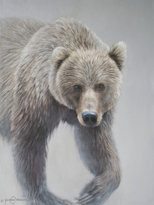 grizzly bear mist western wildlife art by james corwin artist