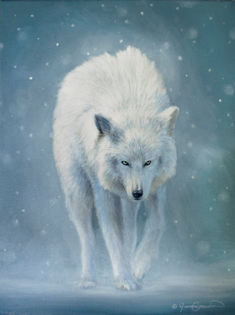 white wolf in snow oil painting by james corwin fine art wildlife artist