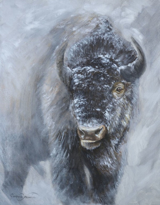 This is a portrait of a bison or American buffalo in winter snow, inspired by an earlier painting titled Giants in the Mist by wildlife artist james corwin