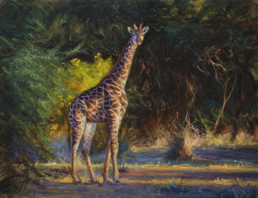 a giraffe walks out into the glow of setting sun in african wildlife painting by artist james corwin