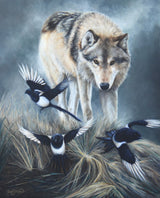 wolf follows magpies to scavenge art painting limited edition print