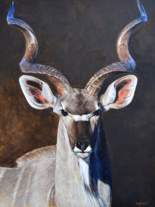 african kudu hunting portrait painting by wildlife artist james corwin