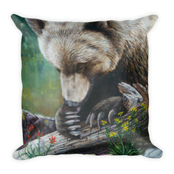 Lady Bug Heaven Grizzly Bear- Square Pillow