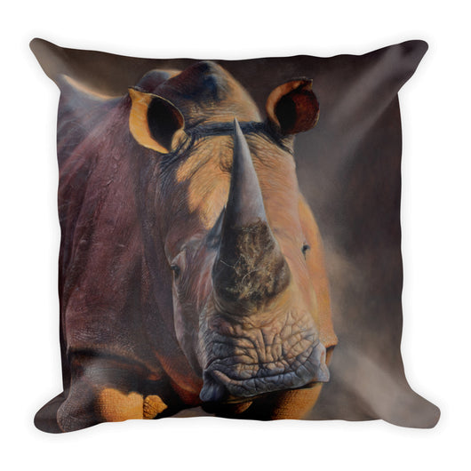 rhino decorative pillow by james corwin art