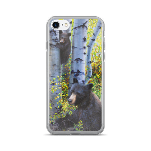 black bears fall aspen tree iphone case apple by james corwin fine art wildlife artist