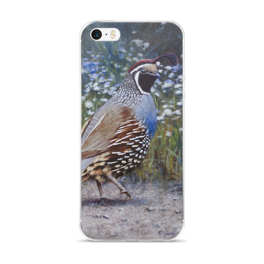 california quail wildflowers iphone case apple by james corwin fine art wildlife artist
