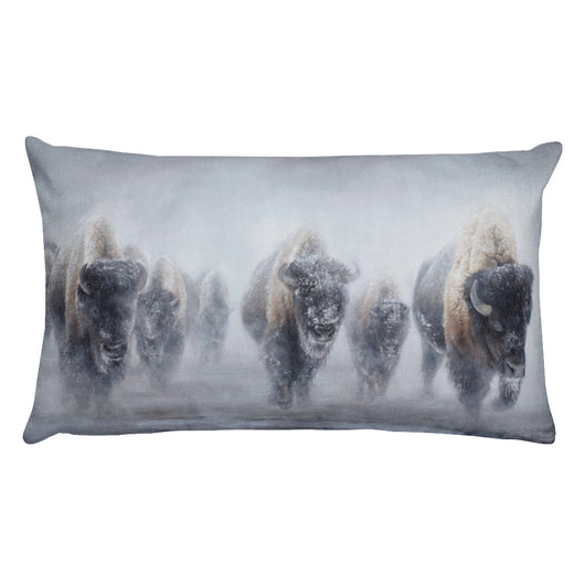 Western Bison in Winter - Premium Pillow