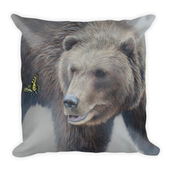 grizzly bear and butterfly decorative pillow by james corwin art