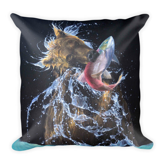 brown bear sockeye salmon alaskan decorative pillow by james corwin art