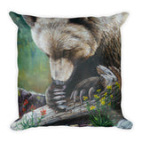 grizzly bear glacier park decorative pillow by james corwin art