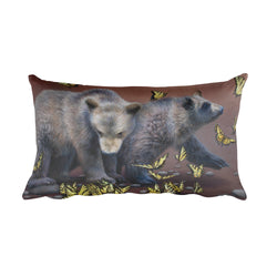 grizzly bear cubs and butterflies decorative pillow by James Corwin