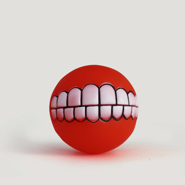 """Put on a Smile"" Squeaker Dog Ball"