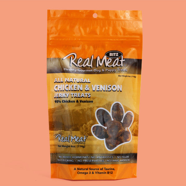 Real Meat Chicken & Venison Natural Dog Jerky Treats