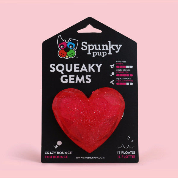 Spunky Pup Squeaky Gems Heart Toy
