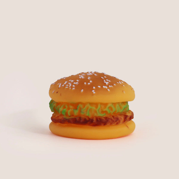 Rubber Vinyl Squeaker Dog Burger Toy
