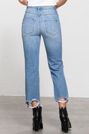 90'S HIGH RISE CROPPED STRAIGHT JEANS