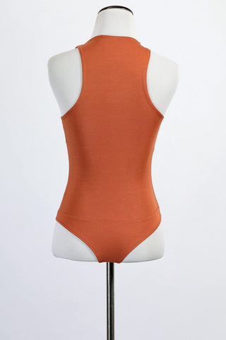 HIGH NECK BODYSUIT (RUST)