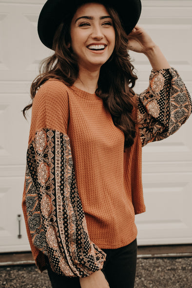 Harvest Printed Sleeve Blouse