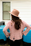 Pretty In Pink Distressed Sweater