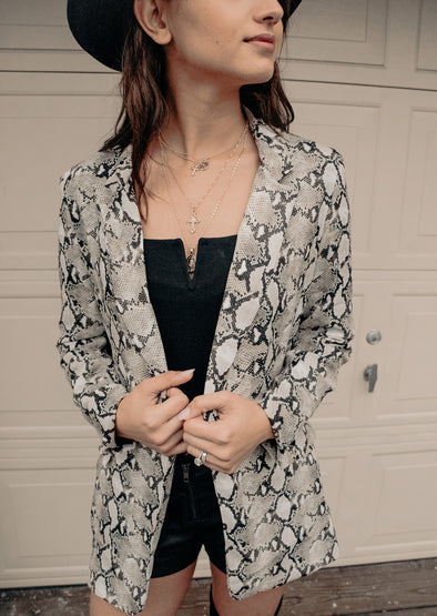 HEY QUEEN SNAKESKIN BLAZER