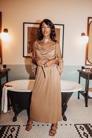 Vintage Gold Midi Dress With shawl (only 1 available)