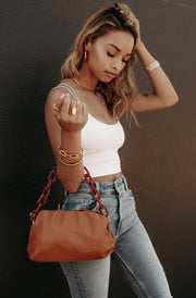 Faux Leather Chain Bag (Camel)