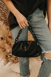 Faux Leather Chain Bag (Black)