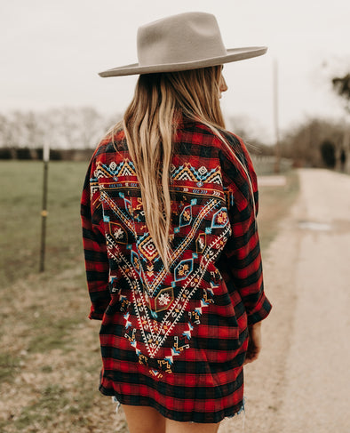 AZTEC EMBROIDERED FLANNEL