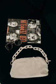 Faux Leather Chain Bag (Ivory)