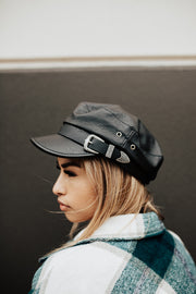 Vegan Leather Buckle Cap