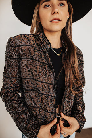 Vintage brown & black beaded blazer (only 1 available)