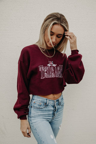 Texas A&M Vintage Cropped Pullover