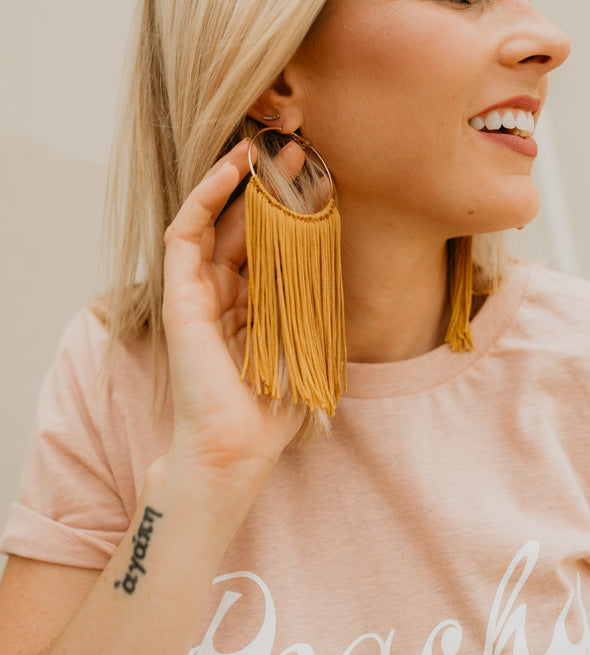Honey Fringe Hoop Earrings
