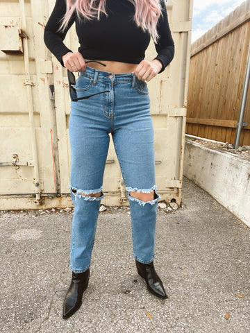 Edgy Mom Jeans (Blue Denim)