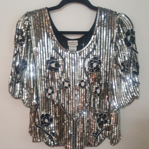 Vintage black & silver sequin top (only 1 available)