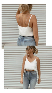 Anytime Satin Crop (White)