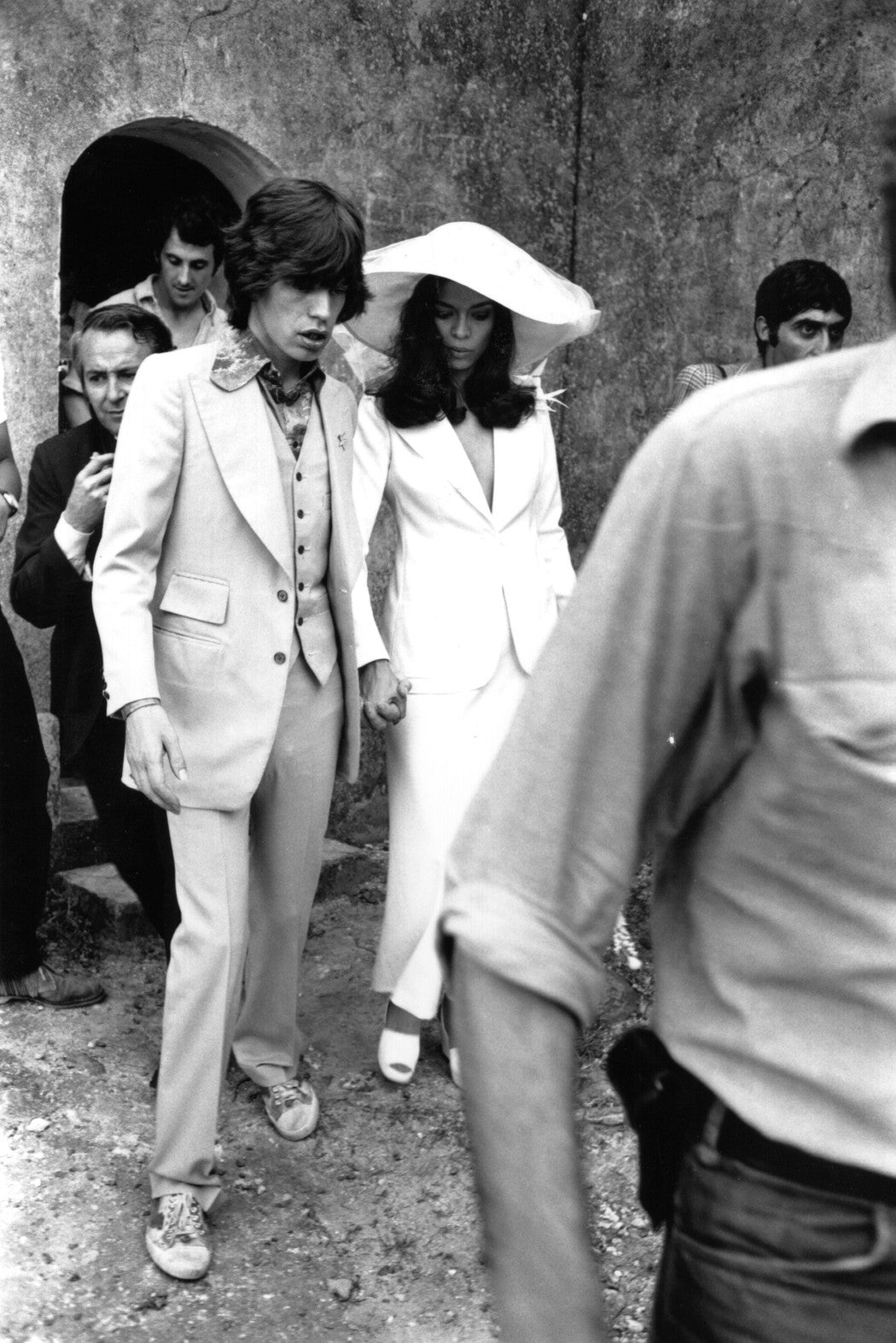 Bianca and Mick Jagger on their wedding day