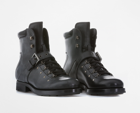 Prada Lace Up Leather Boots