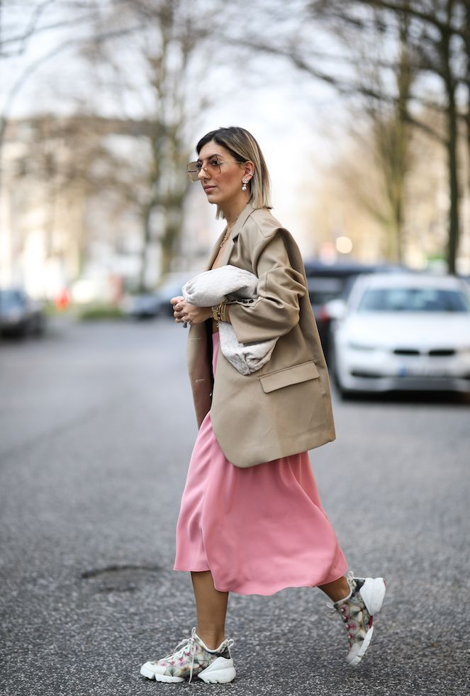 Silk dresses and sneakers