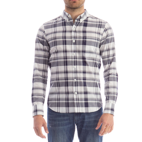 Moncler Gamme Bleu Plaid Fitted Shirt-MONCLER GAMME BLEU-SHOPATVOI.COM - Luxury Fashion Designer