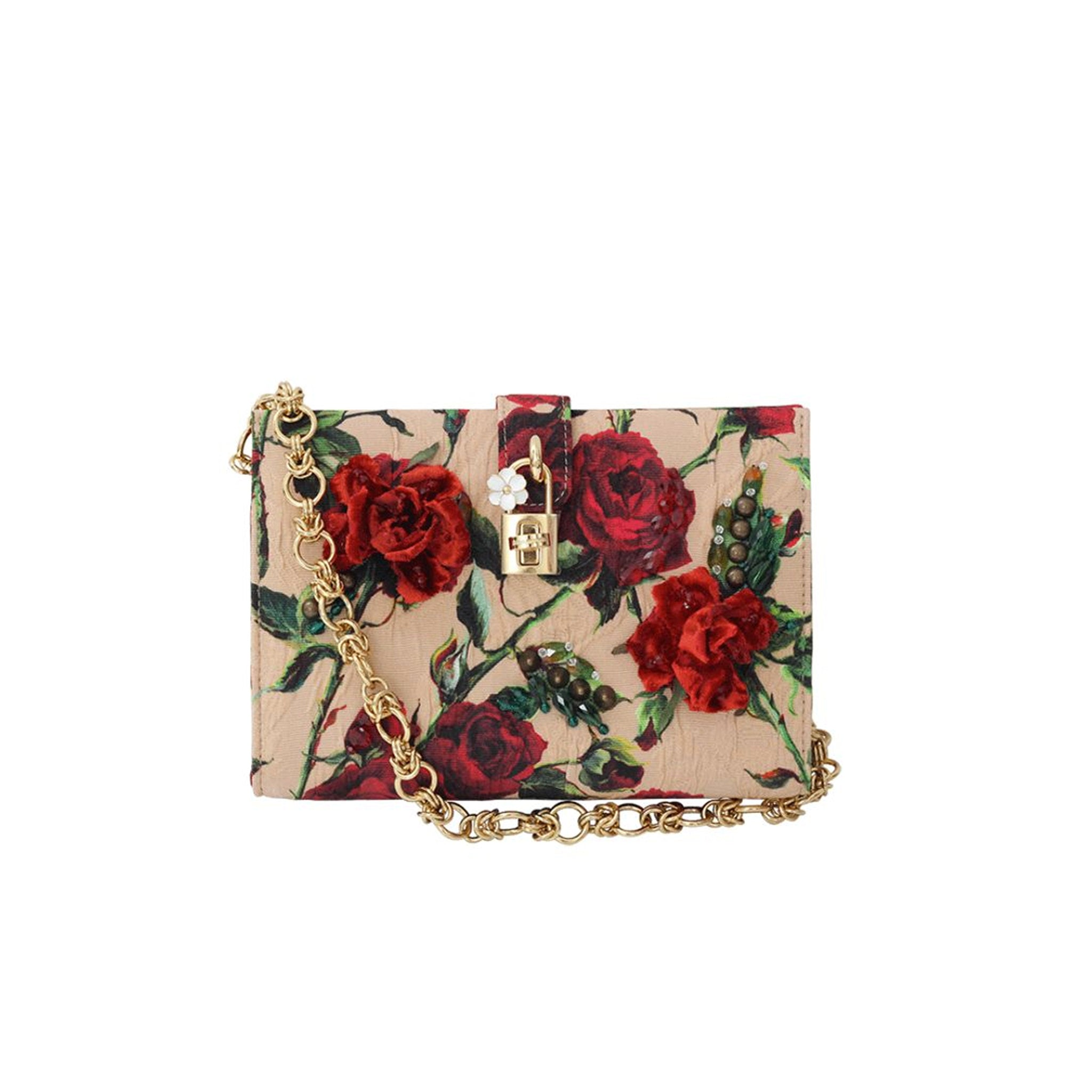 Dolce & Gabbana Rose Print Canvas Bag