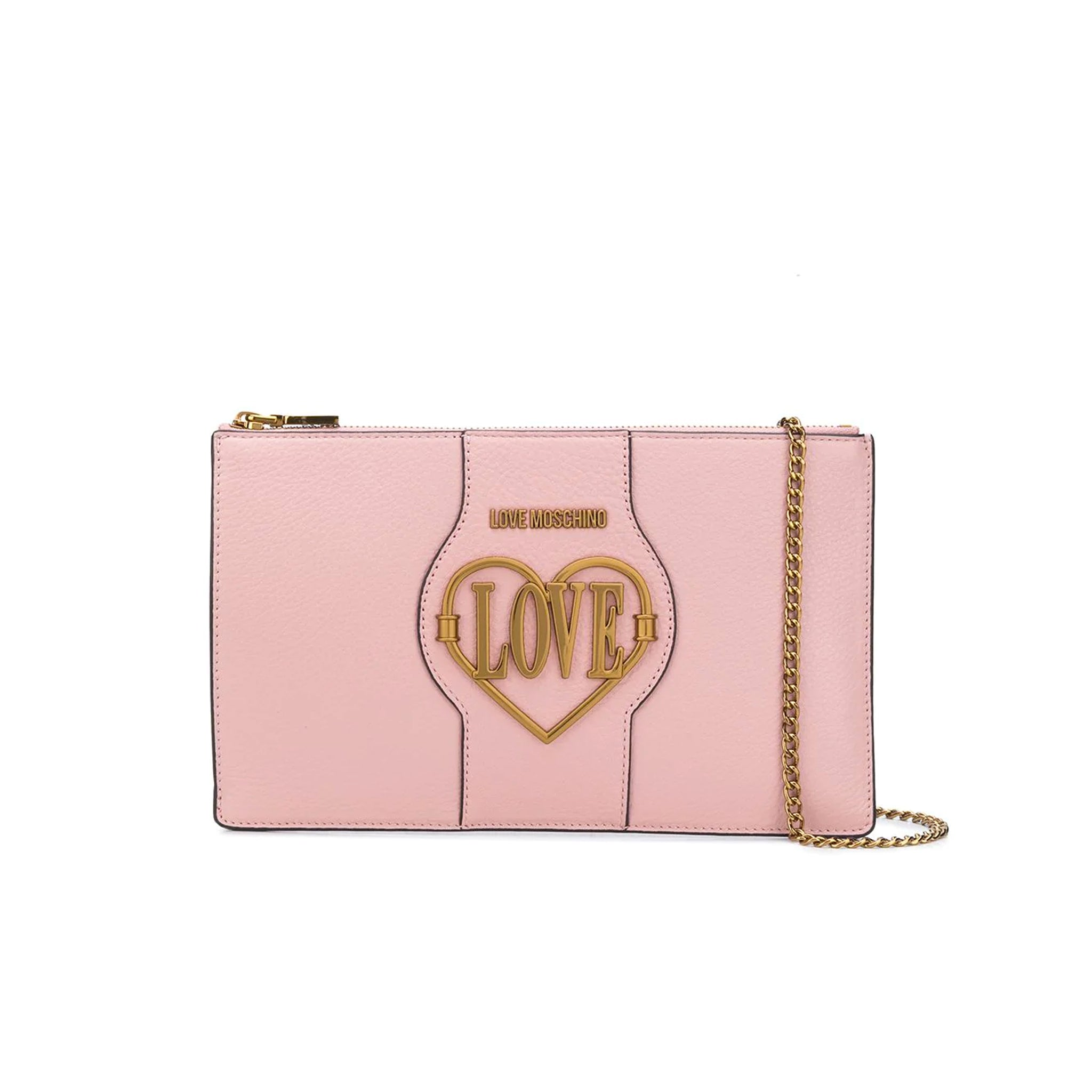 Love Moschino Leather Logo Clutch
