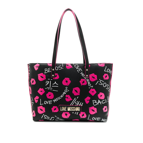 Love Moschino Kiss Print Tote Bag