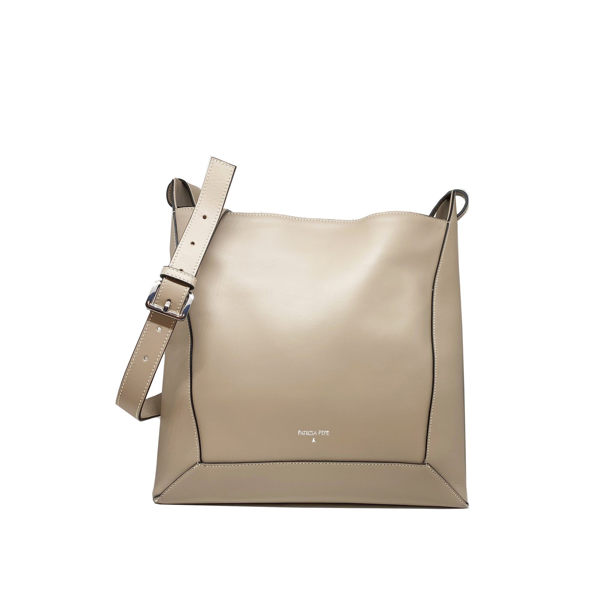 Patrizia Pepe Logo Leather Shoulder Bag